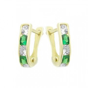 Zlaté náušnice podkovy zeleno-bílé 111.00014