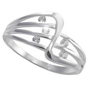 Prsten z bílého zlata s pěti zirkony v průřezech 010.00171