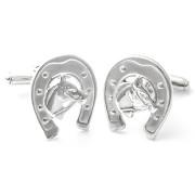 Manžetové knoflíčky stříbrné se symbolem podkovy a koně