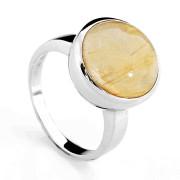 Stříbrný prsten s velkým kamenem sagenitem 131.00001
