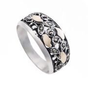 Prsten z portugalského stříbra s markazity AS-ISAN679