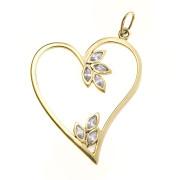 Zlatý přívěsek srdce se zirkony ZZ10.04.K1442