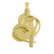 Zlatý přívěsek dvojité srdce gravír