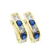 Zlaté náušnice podkovy tmavě modro-bílé 081.00001