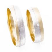 Zlaté snubní prsteny kombinované M305
