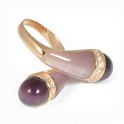 Stříbrný prsten zlacený s fialovými kameny 061.00001