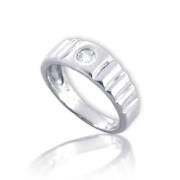 Zlatý dětský prsten z bílého zlata se zirkonem a ozdobnými rýhami 010.00012