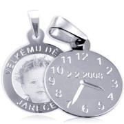 Křtící hodiny z bílého zlata ZZ20.P11foto s gravírováním a fotografií