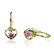 Zlaté dětské náušnice srdíčka s růžovými kamínky 030.00134