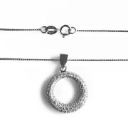 Stříbrný náhrdelník kulatý přívěs se zirkony a řetízkem Beneto AGS134/45 010.00063