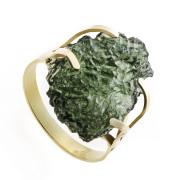 Zlatý prsten s přírodním vltavínem 860.00039