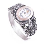 Prsten z portugalského stříbra s markazity a zirkonem 1AF7863-02