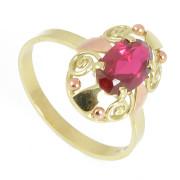 Zlatý barokní prsten s rubínem kombinace zlata 960.00002