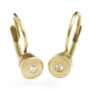 Zlaté luxusní náušnice s malým diamantem 010.00056