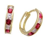 Zlaté náušnice kruhy červeno-bílé 051.00004