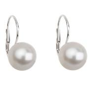 Stříbrné náušnice s bílou perlou 31143.1