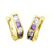Zlaté náušnice podkovy fialovo-bílé 061.00001