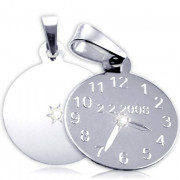 Křtící hodiny s bílým kamínkem z bílého zlata 20mm ZZ20.P11KB
