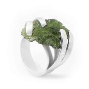 Stříbrný prsten s vltavínem01.860.00017
