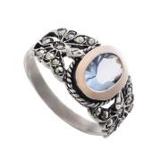 Stříbrný prsten s akvamarínem a markazity AF7863
