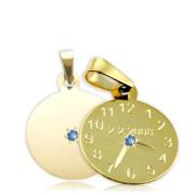 Křtící hodiny ze žlutého zlata s modrým kamínkem 15mm ZZ15.P10KM