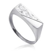 Pánský prsten z bílého zlata s rytinkou 000.00009