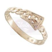 Zlatý prsten podoba pásku dva zirkonky 010.00096