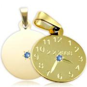 Křtící hodiny ze žlutého zlata s modrým kamínkem 20mm ZZ20.P10KM
