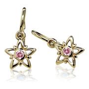 Zlaté dětské náušnice hvězdičky s růžovým kamínkem 030.00135