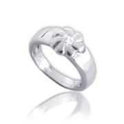 Zlatý dětský prsten s kytičkou se zirkonem uprostřed 010.00011