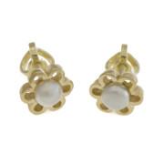 Zlaté náušnice kytičky s perlou flower10