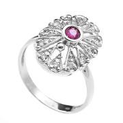 Zlatý prsten květ s brilianty a rubínem uprostřed 991.00091