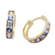 Zlaté náušnice kroužky světle modro-bílé 071.00001