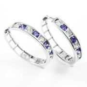 Zlaté kruhy fialovo-bílé kamínky 061.00018