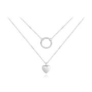Stříbrný dvojitý náhrdelník se srdíčkem JMAN0210SN45