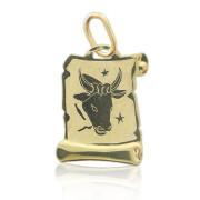 Zlatý přívěsek znamení Býk na pergamenu 000.00106