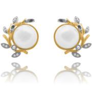 Stříbrné pozlacené náušnice s perlou JMAN7001GE00