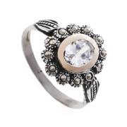 Prsten z portugalského stříbra s markazity a zirkonem AF17023