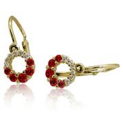 Zlaté dětské náušnice červeno-bílé kamínky 051.00022