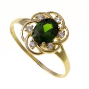 Zlatý prsten se zeleným kamenem 111.00002