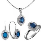 Luxusní zlatá souprava s diamanty a modrým safírem 991.00001