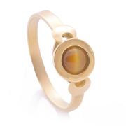 Prsten ze žlutého zlata tygří oko kulaté 820.00106