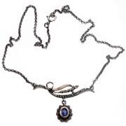 Náhrdelník z portugalského stříbra s modrým kamenem CM9593