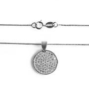 Stříbrný náhrdelník kulatý přívěs se zirkony a řetízkem Beneto AGS118/45 010.00062