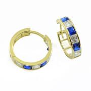 Zlaté náušnice kruhy modro-bílá kombinace kamenů 081.00036