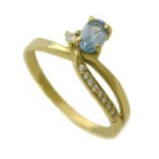 Zlatý prsten s akvamarínem 01.378
