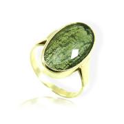 Zlatý prsten s vltavínem ovál žluté zlato 860.00097