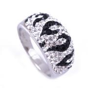 Stříbrný prsten černo-bíle žíhaný 230.00001