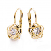 Zlaté náušnice s bílým kamínkem hvězdičky 010.00083