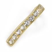 Přívěsek žluté zlato rámující bílé kameny ve svislém pásku, skryté očko  12.010.00039